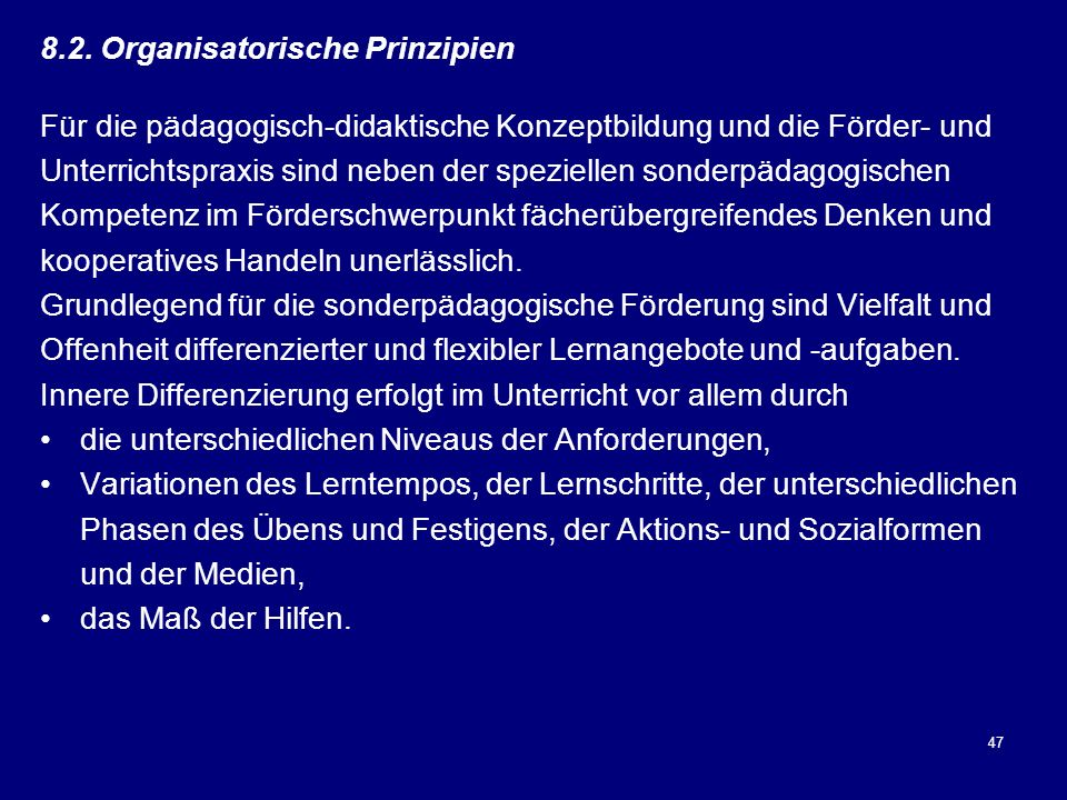 8.2. Organisatorische Prinzipien