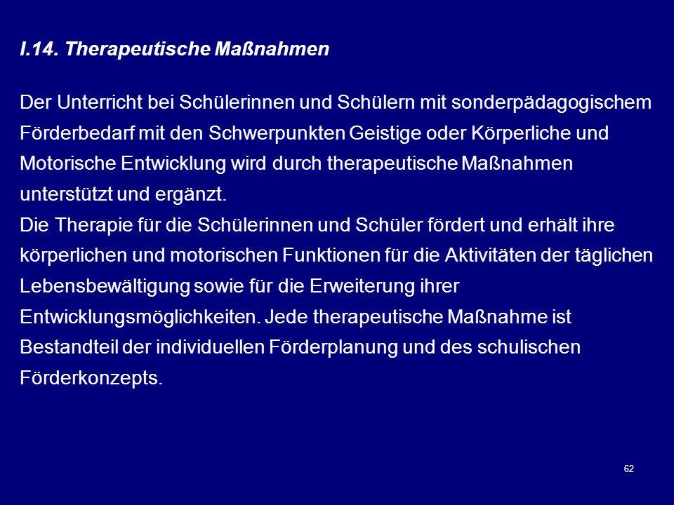 14. Therapeutische Maßnahmen