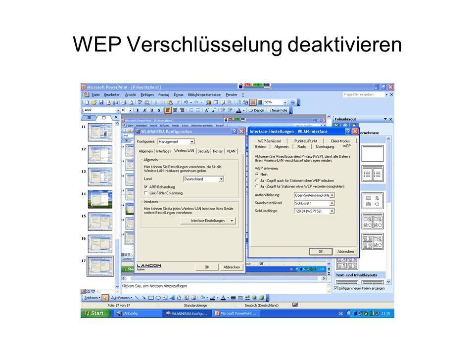 WEP Verschlüsselung deaktivieren