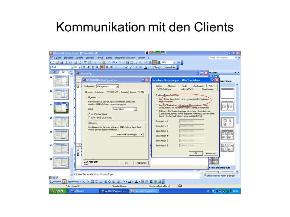 Kommunikation mit den Clients