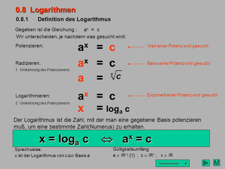 0.8.1 Definition des Logarithmus