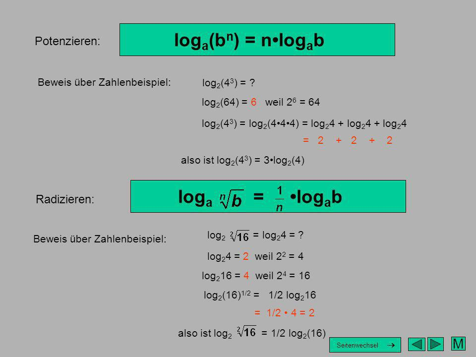 loga(bn) = n•logab loga = •logab