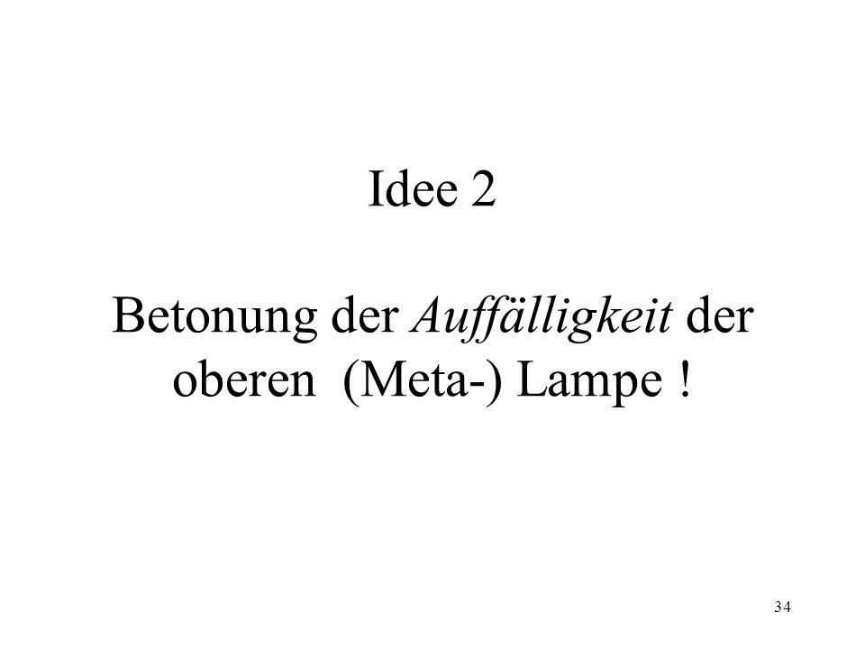 Idee 2 Betonung der Auffälligkeit der oberen (Meta-) Lampe !