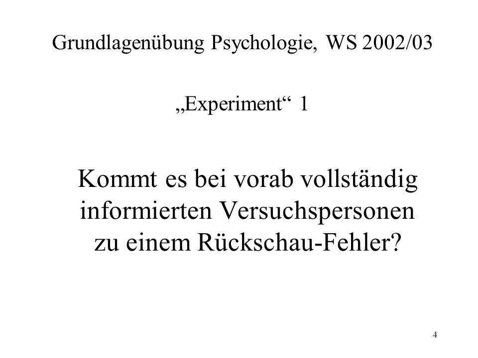 "Grundlagenübung Psychologie, WS 2002/03 ""Experiment 1"