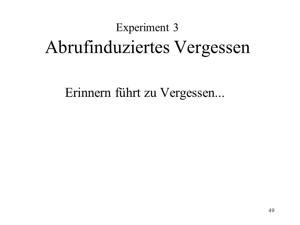 Experiment 3 Abrufinduziertes Vergessen