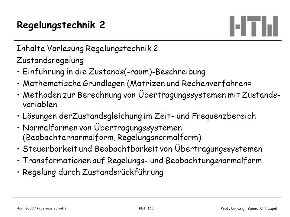 Regelungstechnik 2 Inhalte Vorlesung Regelungstechnik 2