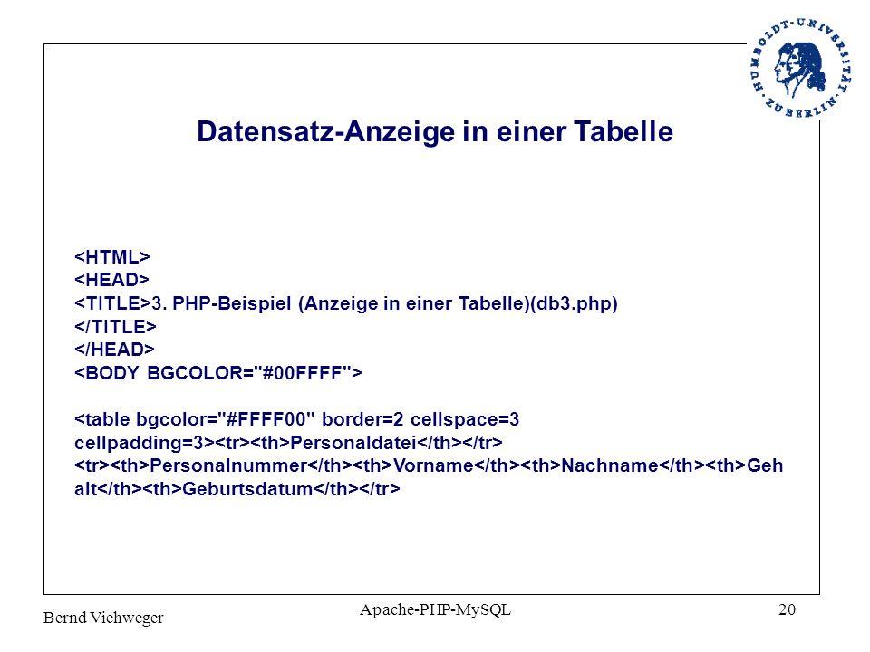 Datensatz-Anzeige in einer Tabelle