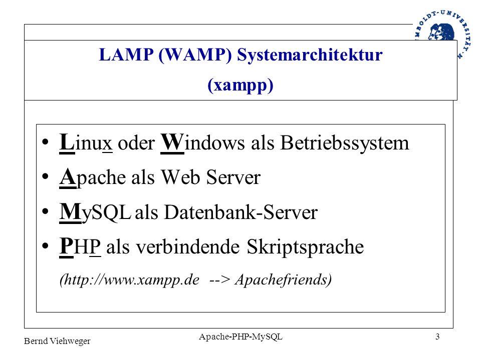 LAMP (WAMP) Systemarchitektur (xampp)