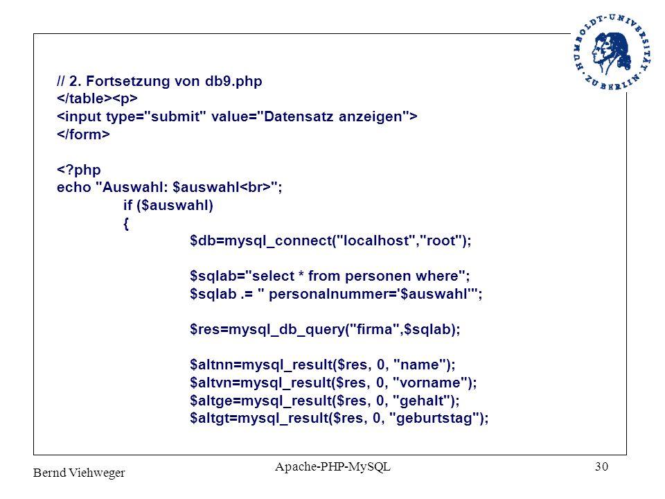 // 2. Fortsetzung von db9.php </table><p>
