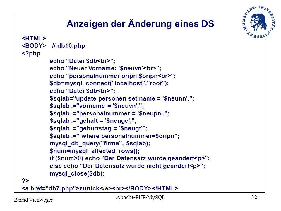 Anzeigen der Änderung eines DS
