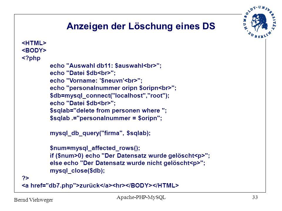 Anzeigen der Löschung eines DS