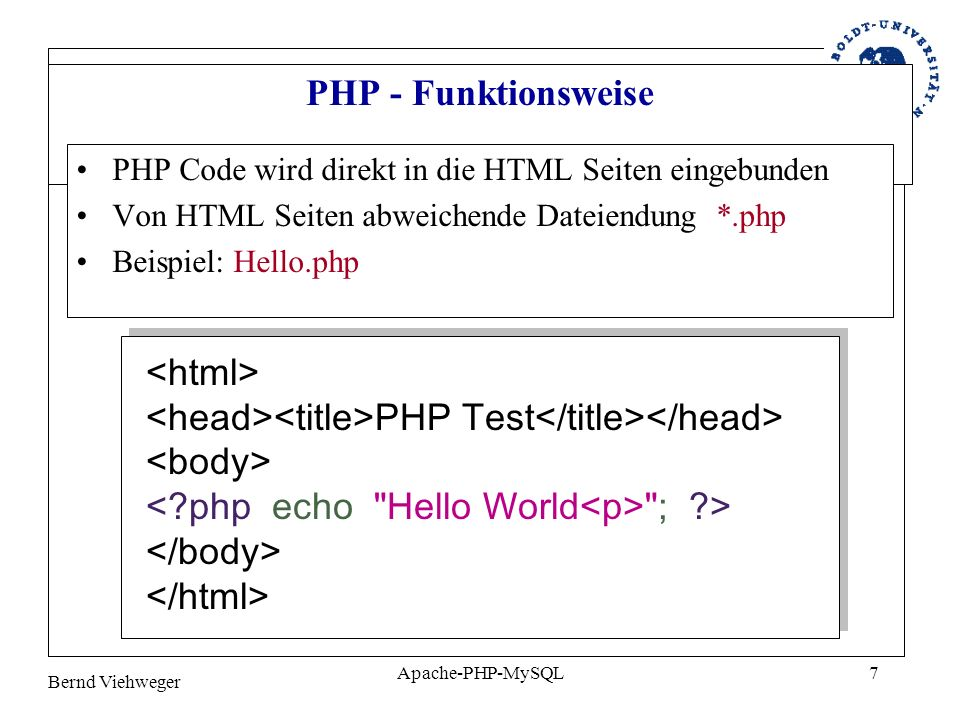 PHP - Funktionsweise <html>