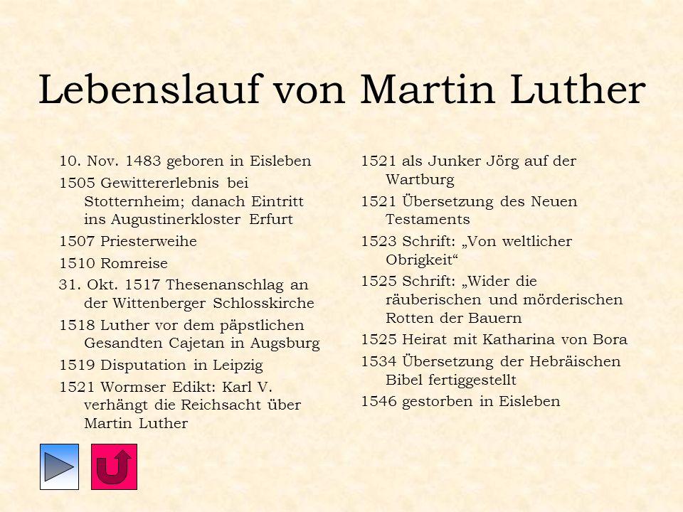 Lebenslauf von Martin Luther