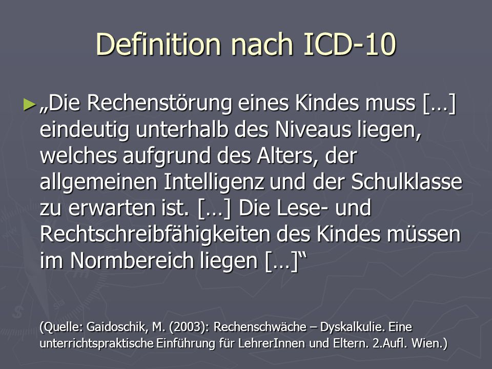 Definition nach ICD-10