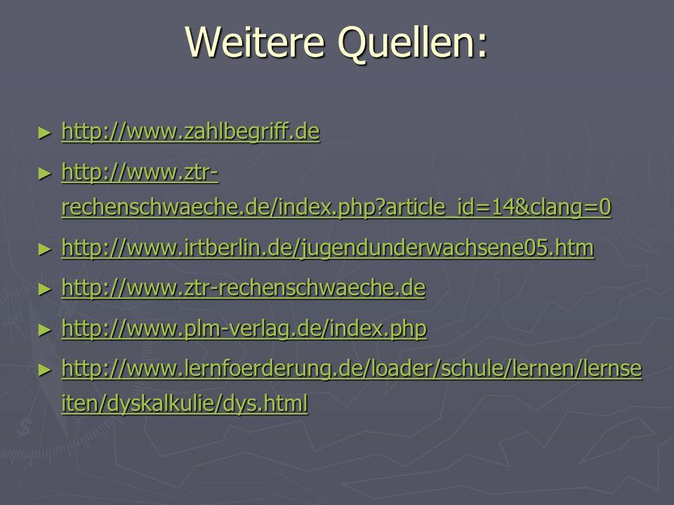 Weitere Quellen: http://www.zahlbegriff.de