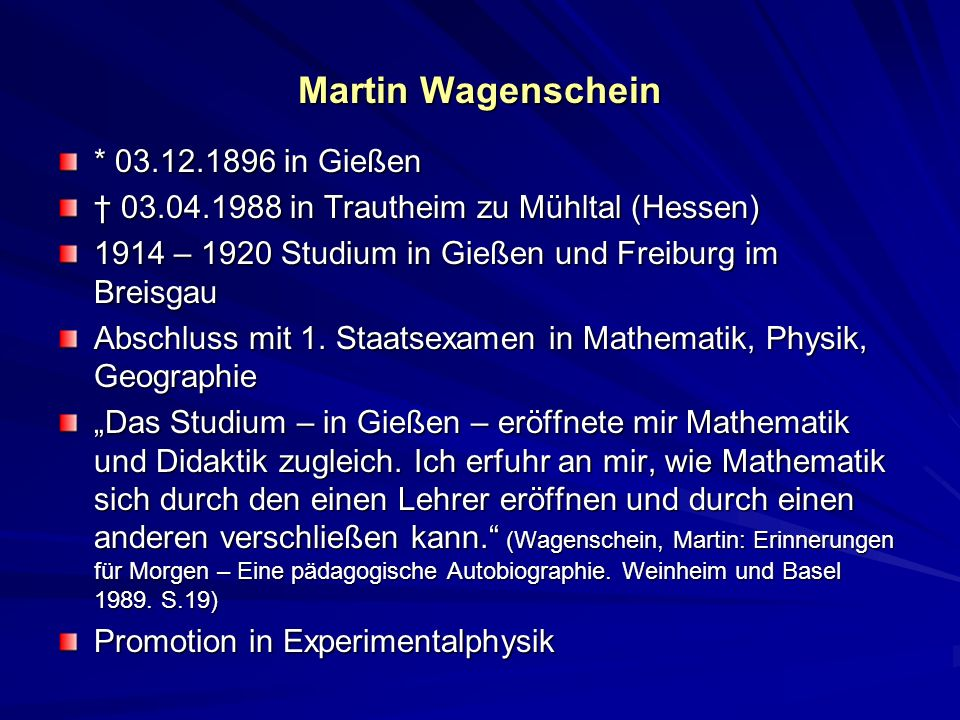 Martin Wagenschein * 03.12.1896 in Gießen