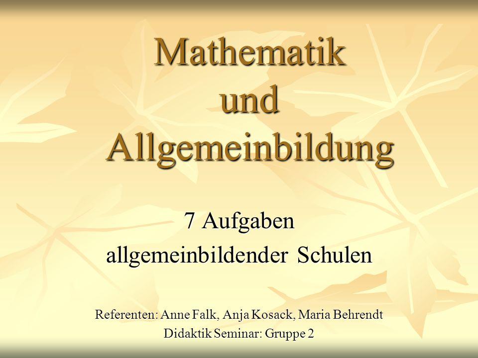 Mathematik und Allgemeinbildung