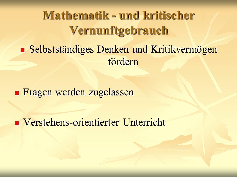 Mathematik - und kritischer Vernunftgebrauch