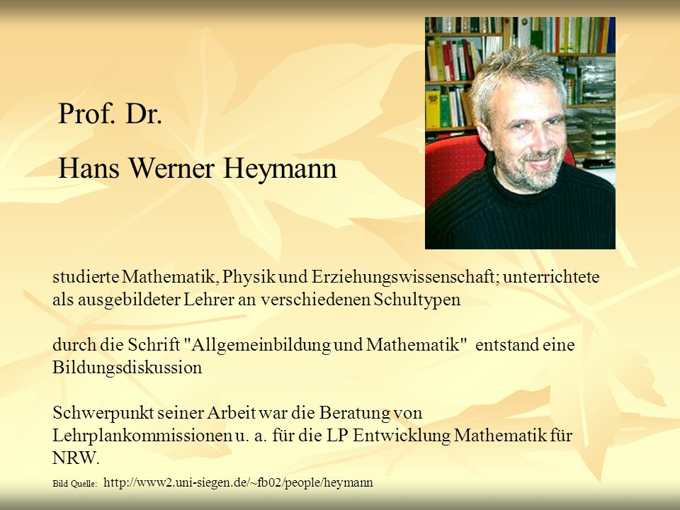 Prof. Dr. Hans Werner Heymann