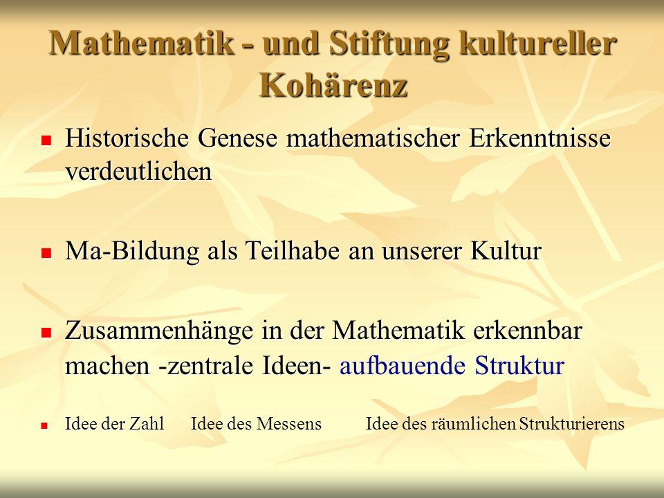 Mathematik - und Stiftung kultureller Kohärenz