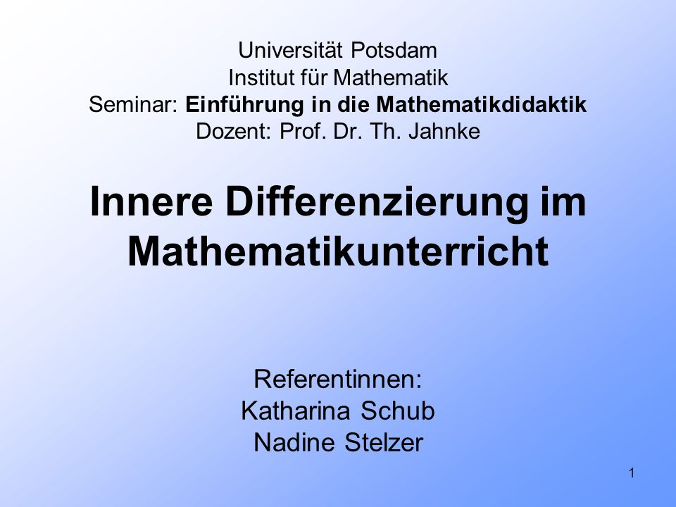 Referentinnen: Katharina Schub Nadine Stelzer