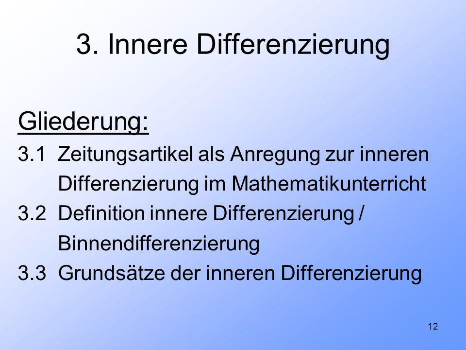 3. Innere Differenzierung