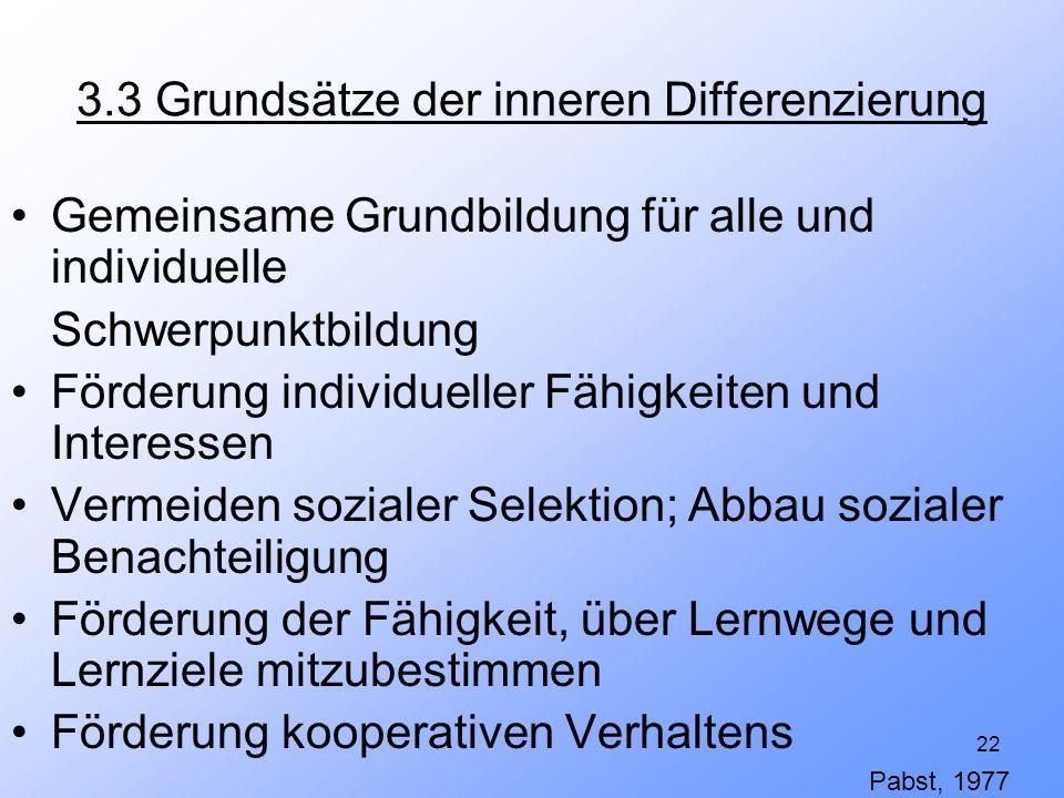 3.3 Grundsätze der inneren Differenzierung
