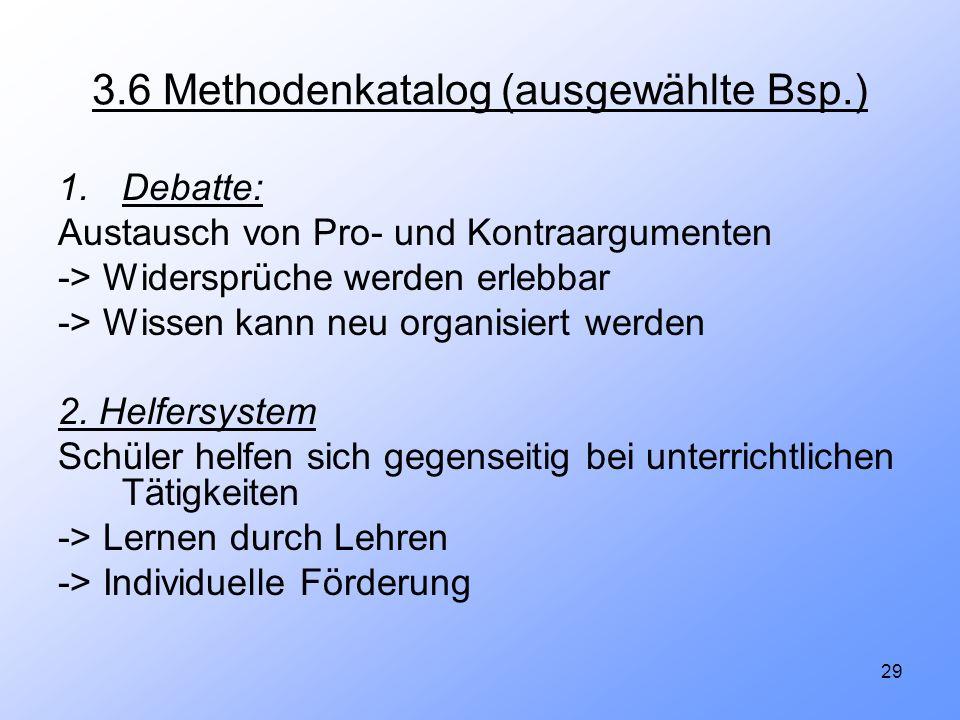 3.6 Methodenkatalog (ausgewählte Bsp.)