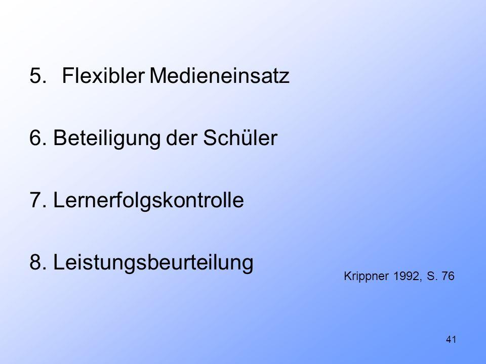 5. Flexibler Medieneinsatz 6. Beteiligung der Schüler