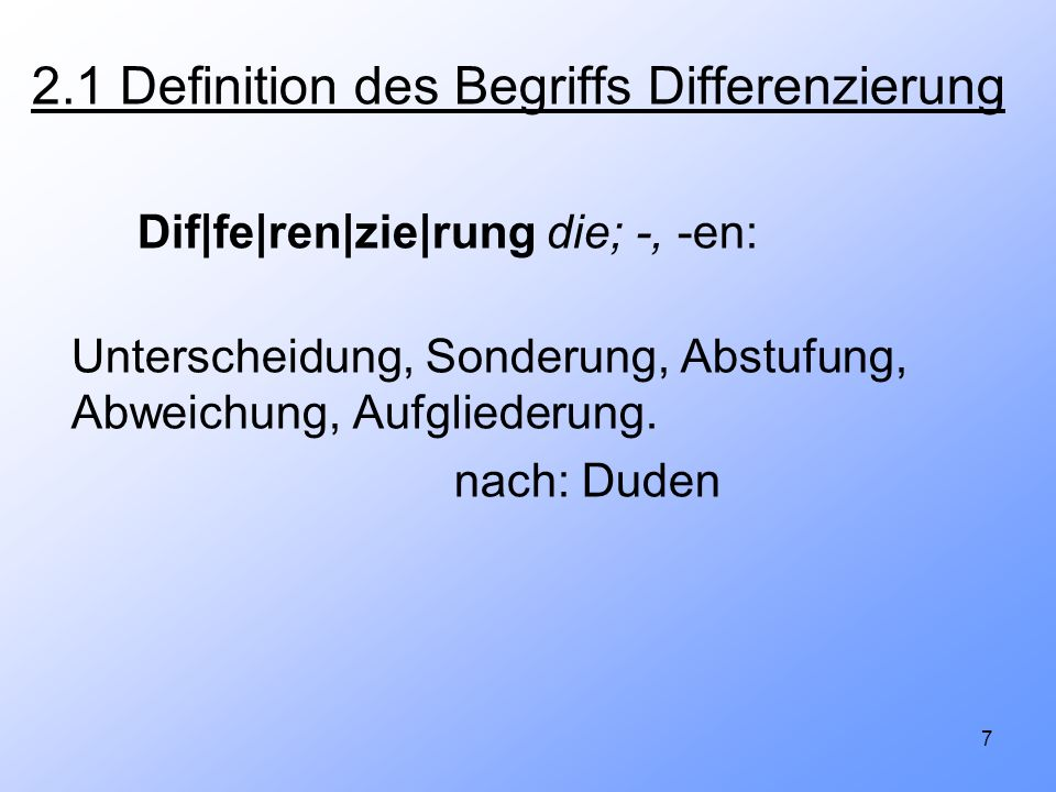 2.1 Definition des Begriffs Differenzierung