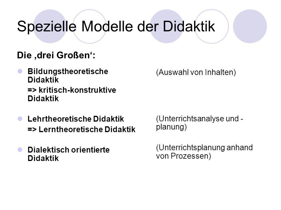 Spezielle Modelle der Didaktik