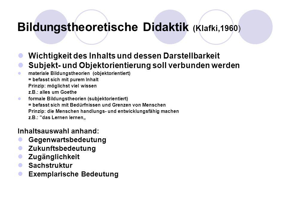 Bildungstheoretische Didaktik (Klafki,1960)