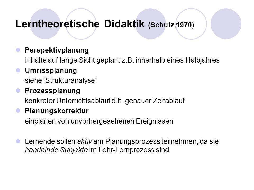 Lerntheoretische Didaktik (Schulz,1970)