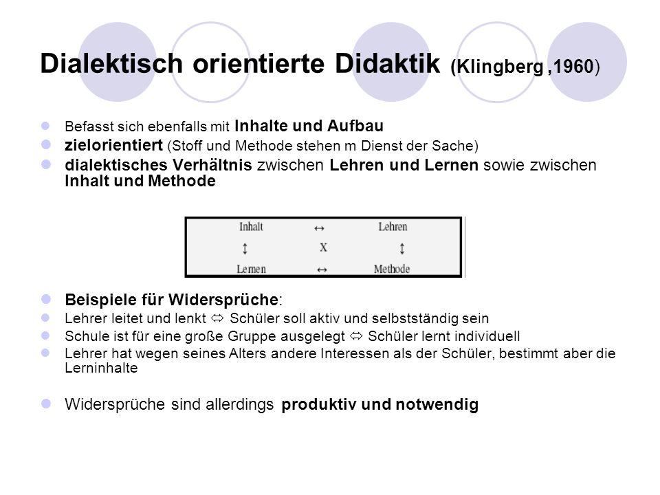 Dialektisch orientierte Didaktik (Klingberg ,1960)