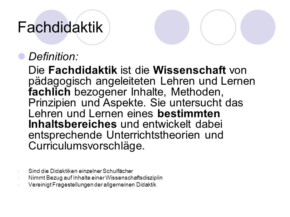 Fachdidaktik Definition: