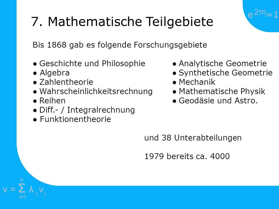 7. Mathematische Teilgebiete