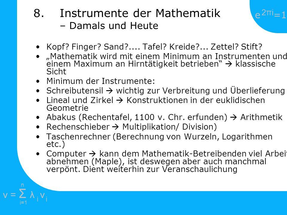 Instrumente der Mathematik – Damals und Heute