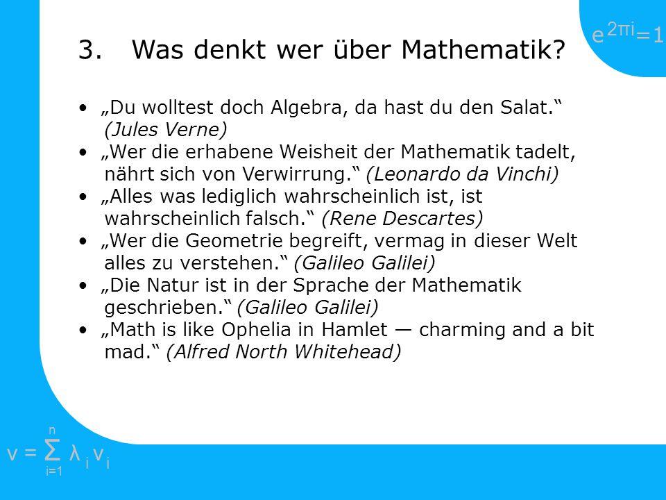 3. Was denkt wer über Mathematik