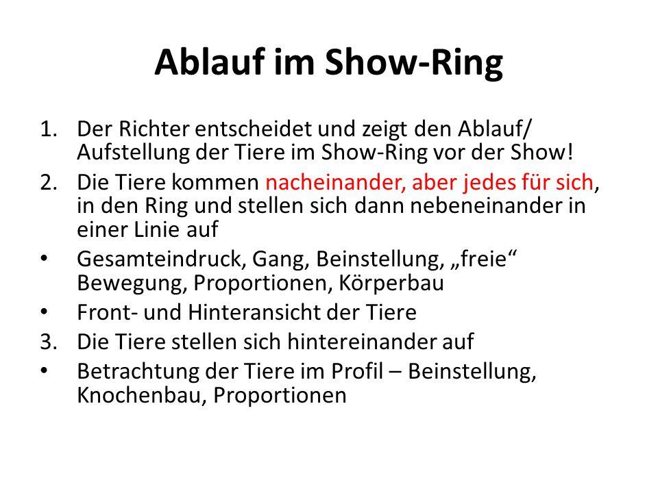 Ablauf im Show-Ring Der Richter entscheidet und zeigt den Ablauf/ Aufstellung der Tiere im Show-Ring vor der Show!