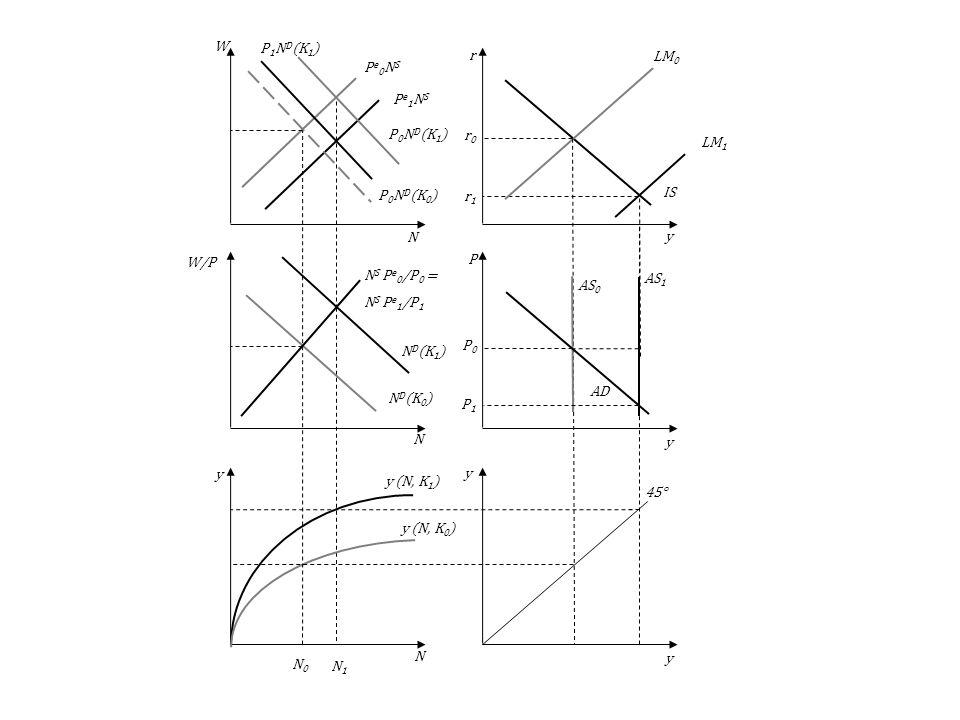 LM1Pe1NS. AS1. P0. N0. N1. ND(K1) P0ND(K1) y (N, K1) AS0. AD. LM0. IS. 45° y (N, K0) NS Pe0/P0 = NS Pe1/P1.