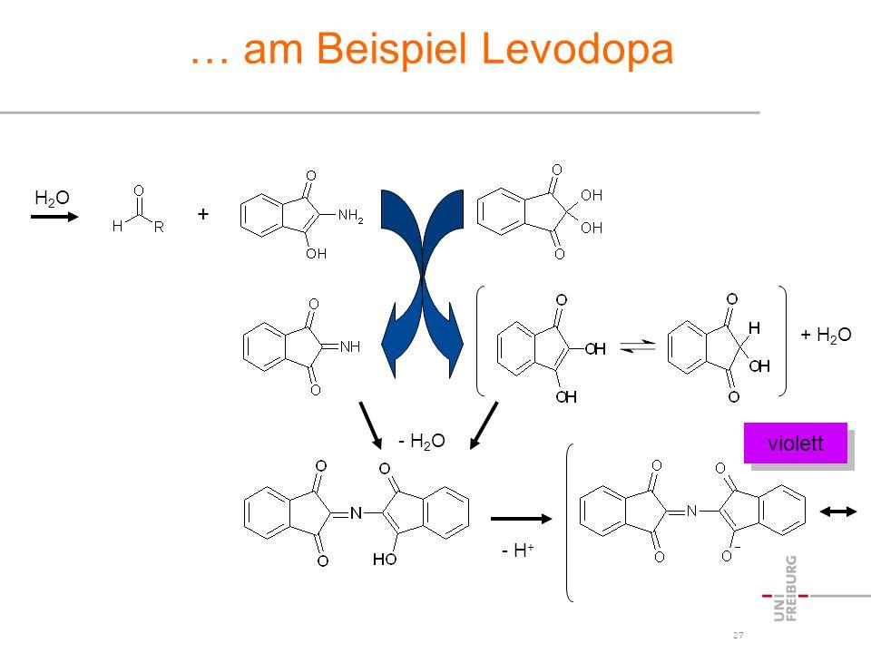 … am Beispiel Levodopa H2O + + H2O - H2O violett - H+