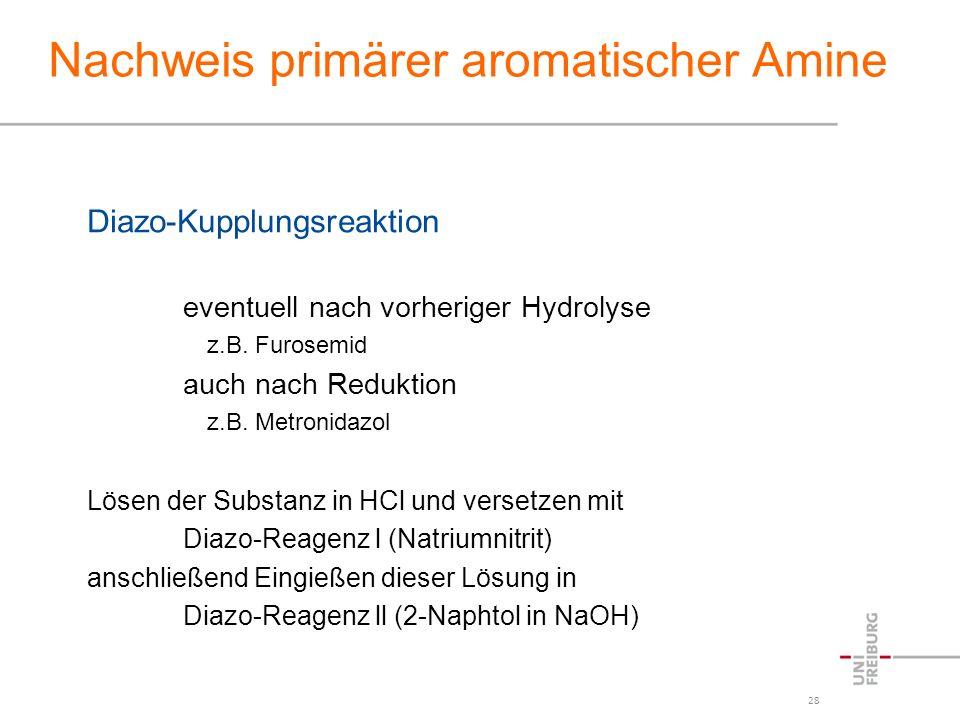 Nachweis primärer aromatischer Amine