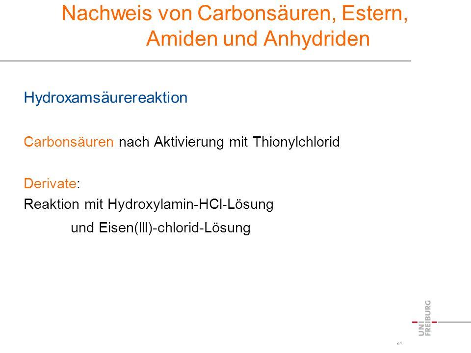 Nachweis von Carbonsäuren, Estern, Amiden und Anhydriden