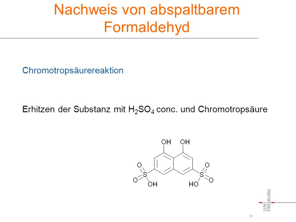 Nachweis von abspaltbarem Formaldehyd