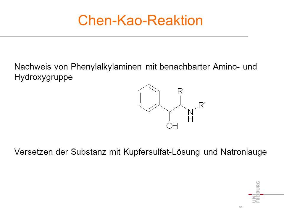 Chen-Kao-Reaktion Nachweis von Phenylalkylaminen mit benachbarter Amino- und Hydroxygruppe.