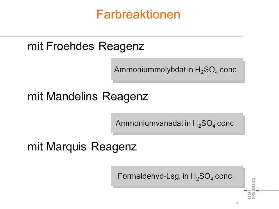 Farbreaktionen mit Froehdes Reagenz mit Mandelins Reagenz