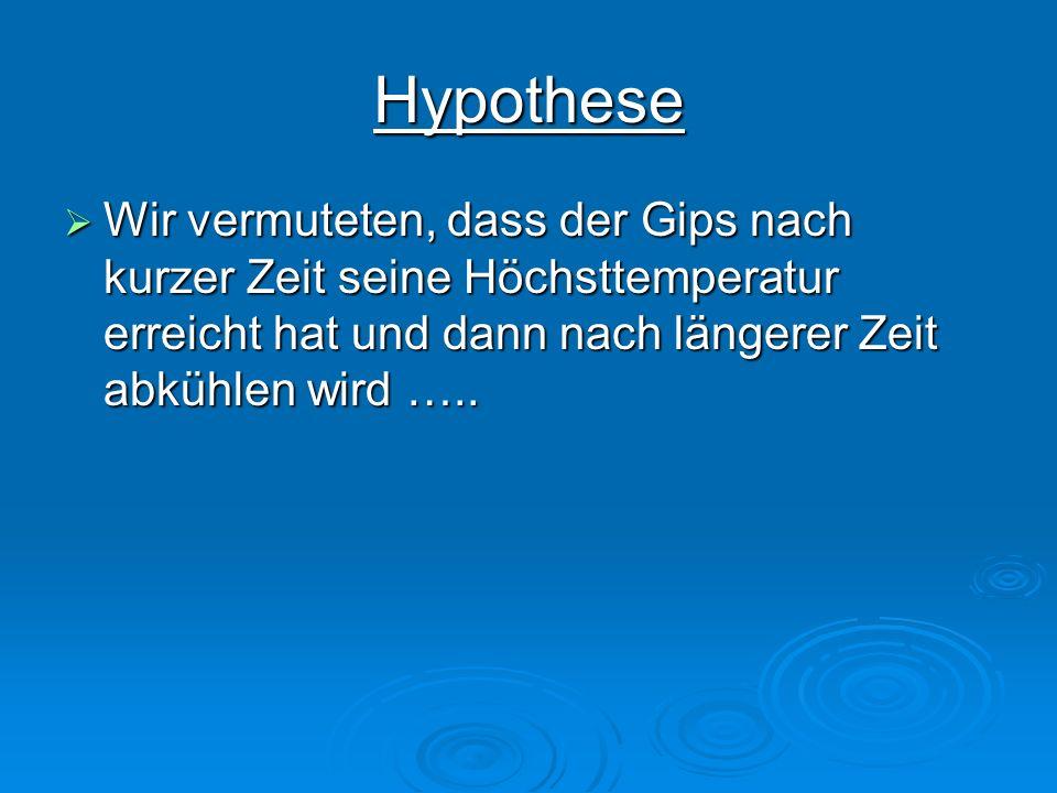 HypotheseWir vermuteten, dass der Gips nach kurzer Zeit seine Höchsttemperatur erreicht hat und dann nach längerer Zeit abkühlen wird …..