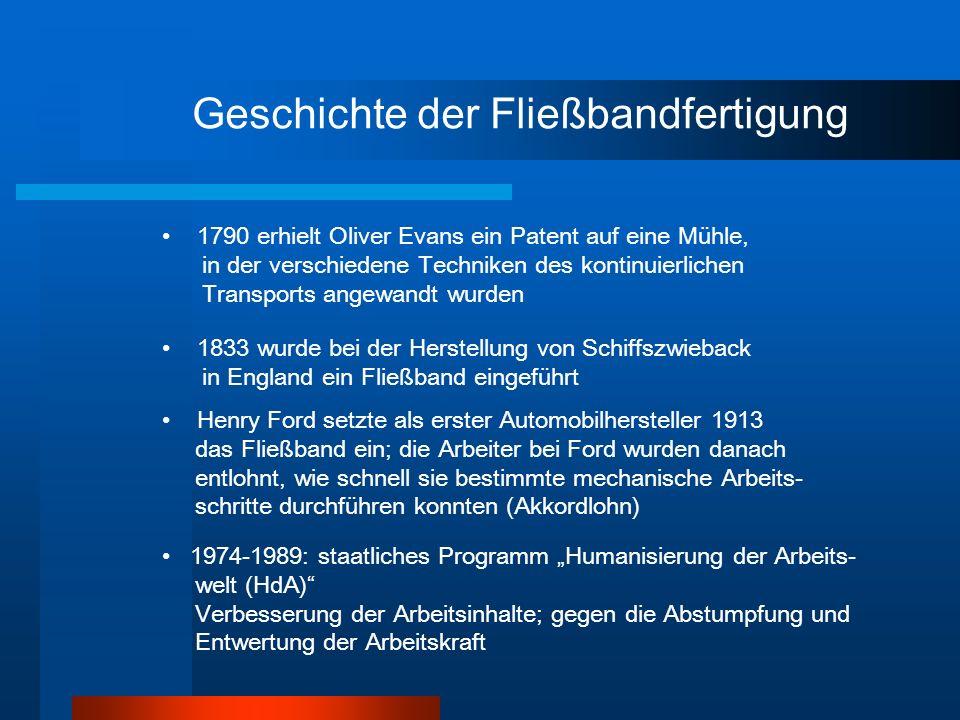 Geschichte der Fließbandfertigung