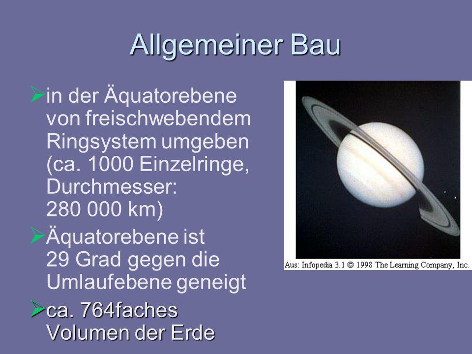 Allgemeiner Bau in der Äquatorebene von freischwebendem Ringsystem umgeben (ca. 1000 Einzelringe, Durchmesser: 280 000 km)