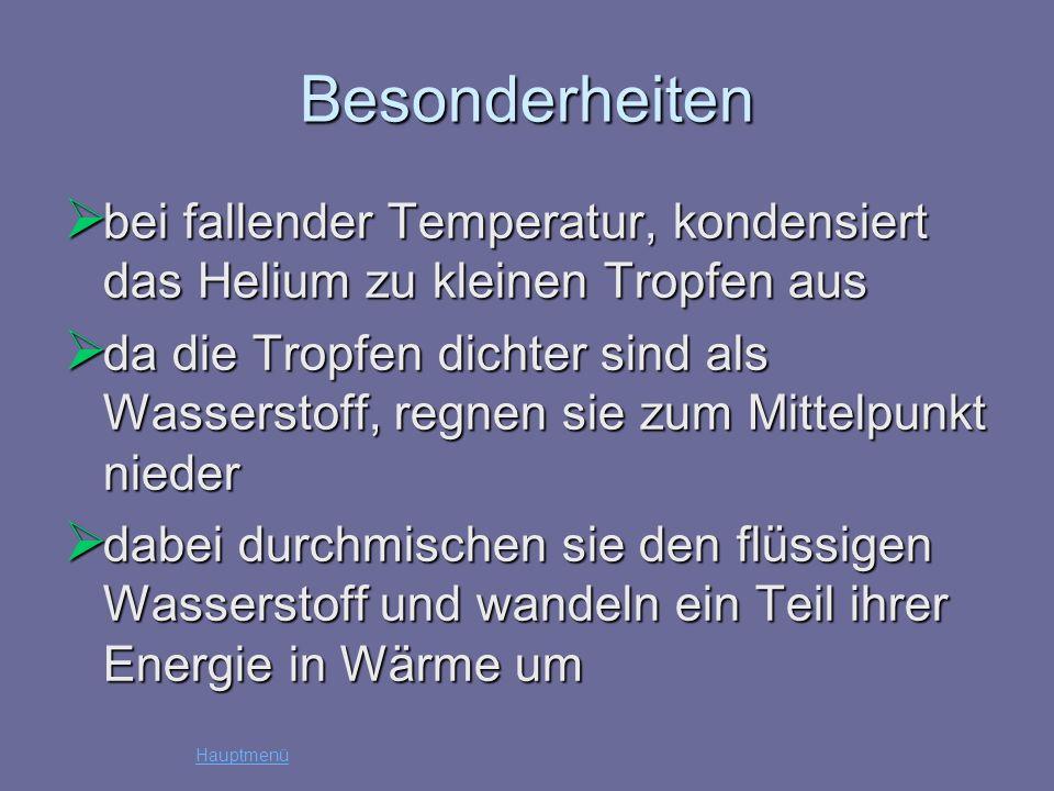 Besonderheiten bei fallender Temperatur, kondensiert das Helium zu kleinen Tropfen aus.